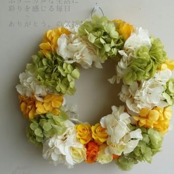 優しい風シリーズ カラフル紫陽花のふんわりリース♪