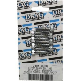 【USA在庫あり】 2401-0968 DRAG ボルトキット リフターブロック 17年以降 M-Eight クローム/ローレット HD店
