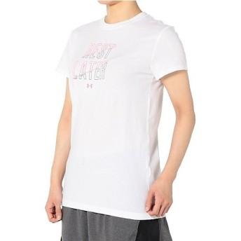 (セール)UNDER ARMOUR(アンダーアーマー)レディーススポーツウェア Tシャツ UA REST LATER SS 1302221 レディース WHITE/PINK SHOCK/STEEL