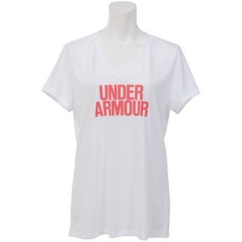 (セール)UNDER ARMOUR(アンダーアーマー)レディーススポーツウェア Tシャツ UA THREADBORNE TRAIN WM V SOLID 1290607 レディース WHITE/POMEGRANATE/...