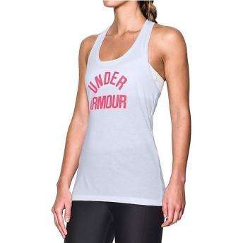 (セール)UNDER ARMOUR(アンダーアーマー)レディーススポーツウェア Tシャツ UA THREADBORNE TRAIN WM TANK 1290611 レディース WHITE/PINK SHOCK/META...