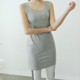 タンクトップ - DAILY NJ ns130.新作! ロングタンクトップ トップス ノースリーブTシャツ ラウンドネック インナー 重ね着 肌触り抜群 大人可愛い 無地 カジュアル 韓国ファッション