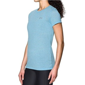 (セール)UNDER ARMOUR(アンダーアーマー)レディーススポーツウェア Tシャツ UA THREADBORNE TRAIN SS STRIPE 1289652 レディース ISLAND BLUES/WHITE/...