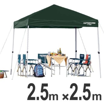 クイックシェード UVカット 防水 キャリーバッグ付 2.5m×2.5m グリーン ( キャプテンスタッグ テント ワンタッチタープ )