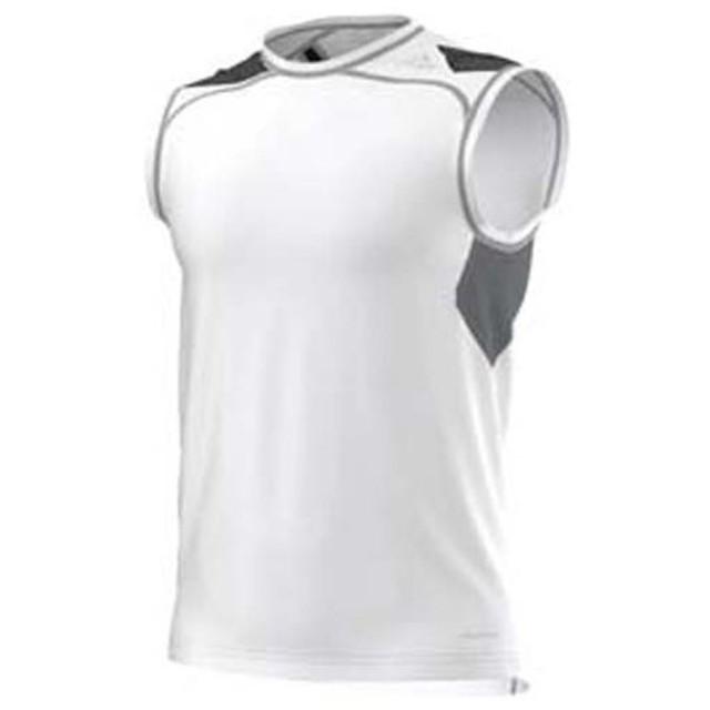 (セール)adidas(アディダス)メンズスポーツウェア コンプレッション半袖 TF COOL フィッテッドスリーブレスシャツ WJ742 S19465 メンズ WHITE/GRAY