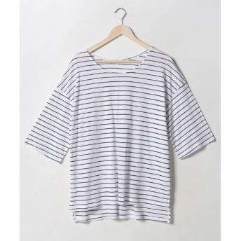 Tシャツ - NOWiSTYLE MERONGSHOP(メロンショップ)しましまスリットTシャツ韓国 韓国ファッション トップス Tシャツ 5分袖 しましま ボーダー秋 夏 大きいサイズ シンプル 楽
