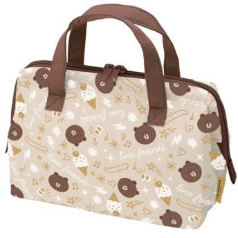■在庫限り・入荷なし■ランチバッグ 保冷バッグ LINEフレンズ ブラウン がま口タイプ M キャラクター ( お弁当バッグ クーラーバッグ トートバッグ