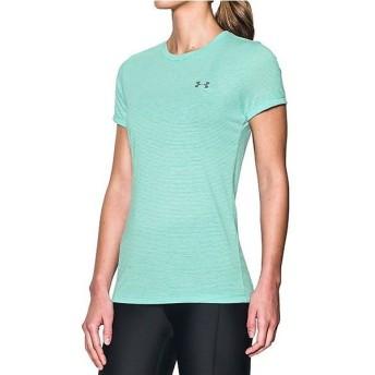 (セール)UNDER ARMOUR(アンダーアーマー)レディーススポーツウェア Tシャツ UA THREADBORNE TRAIN SS STRIPE 1289652 レディース ABSINTHE GREEN/WHIT...
