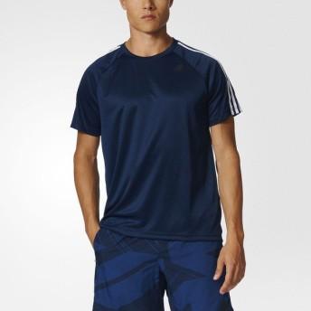 (セール)adidas(アディダス)メンズスポーツウェア 半袖機能Tシャツ D2M トレーニング3ストライプスTシャツ BVA80 BK0969 メンズ カレッジネイビー