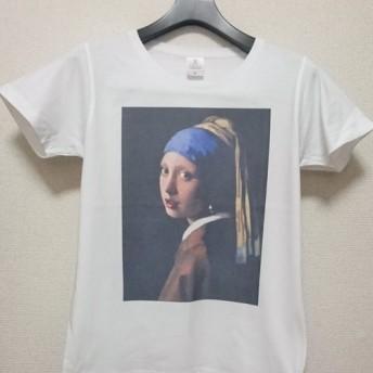 フェルメール「真珠の耳飾りの少女」半袖白Tシャツ