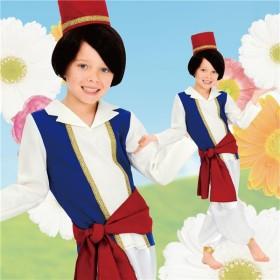 子供用 ハロウィンコスプレ 〔キッズアラビアンプリンス 100サイズ〕 帽子 シャツ付ベスト ベルト パンツ ポリエステル
