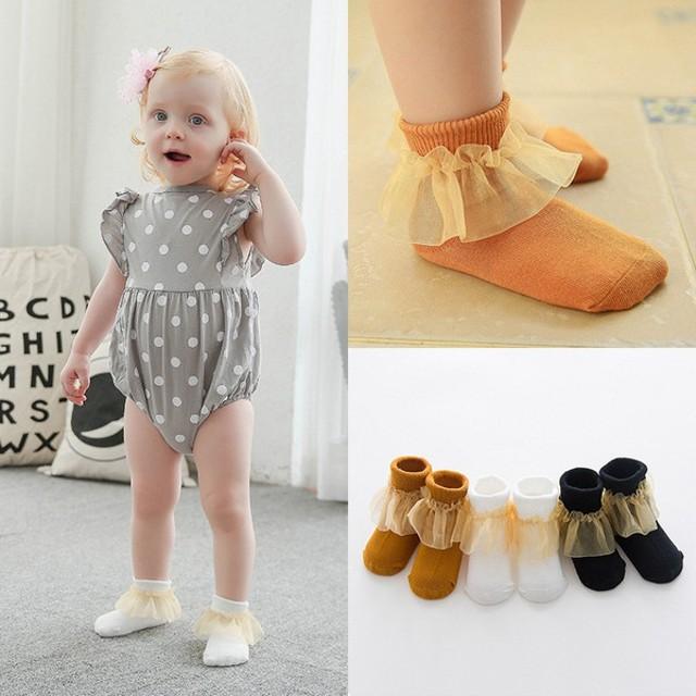 ddb64f528a912 3足セット ベビーソックス 靴下 フリル 女の子 女児 幼児 ベビー 赤ちゃん シンプル 無地 上品 おしゃれ