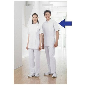住商モンブラン メンズ医務衣(ケーシージャケット) 半袖 ホワイト LL A72-962