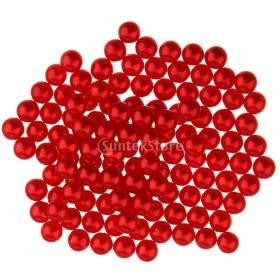 Baosity DIY 人工真珠 無孔 プラスチック ビーズ 多用途 装飾用 チャーム 5mm 全13色選べ  - 赤