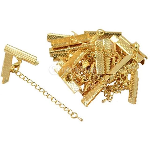 アクセサリーパーツ エンドクリップ ロブスタークラスプ エクステンダーチェーン ビーズ 手芸 DIY 12個 全3色 - ゴールド