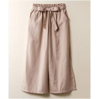 パンツ ワイド ガウチョ 大きいサイズ レディース サイドスリットワイド ウエスト 共布リボン付 LL/3L ニッセン