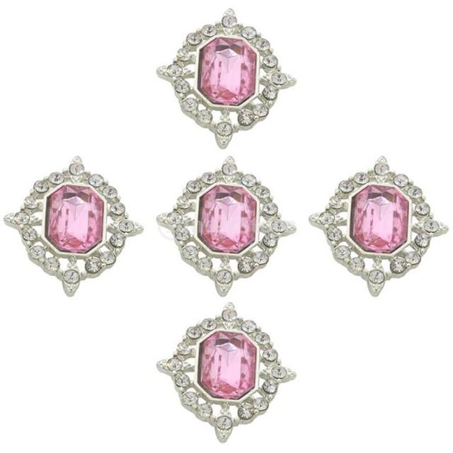 5個入り DIY素材 工芸品 アクリル 手作りジュエリー 携帯飾り ネックレス ラインストーンボタン フラットバック 全20色選べ - ピンク