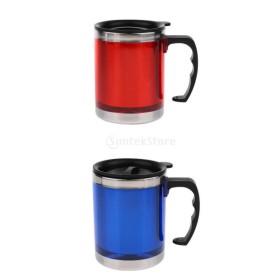 2個 断熱 マグカップ 蓋付き アウトドア キャンピング用