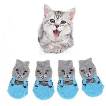 犬 猫用 暖かい 靴下 滑り止め 柔らかい ソックス 快適 全4色2サイズ - グレー, S