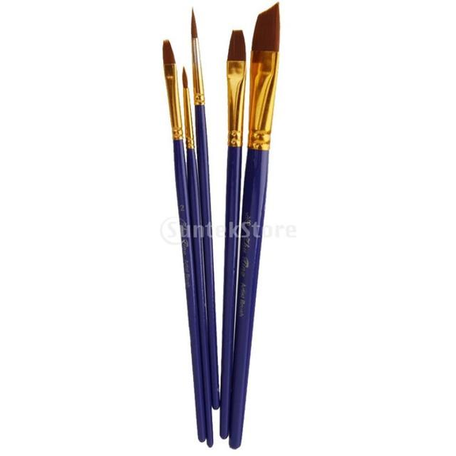 ノーブランド品 5本 多サイズ ブラシ 水彩画 油絵用 絵画用 絵筆 画筆 全6色選べ - ブルー