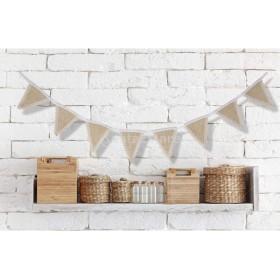 結婚式 パーティー お祝い 小物 装飾 小道具 ジュート 黄麻布 バナー