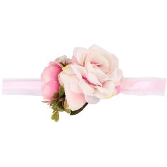 手首フラワー 花嫁 花 フラワー ウェディング 結婚式 パーティー 装飾 全6色 - ピンク