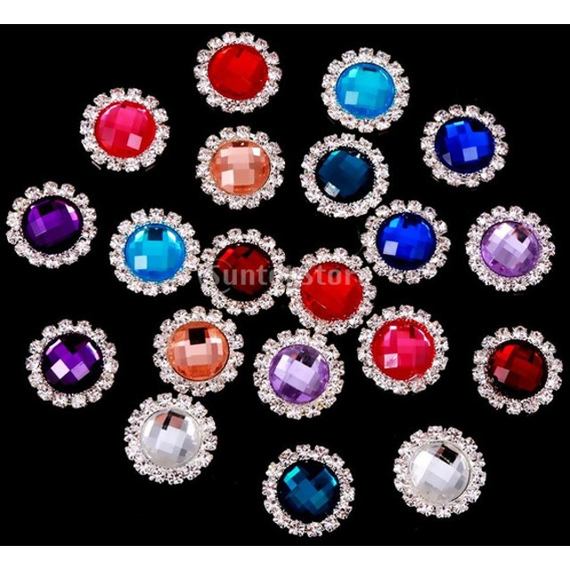 アクリル ラインストーンボタン 20個 縫製 人形の服 アクセサリー 多色 携帯の装飾