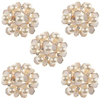 5本入りセット 合金 花 人工真珠  ラインストーン 装飾  DIY アクセサリー 35ミリメートル