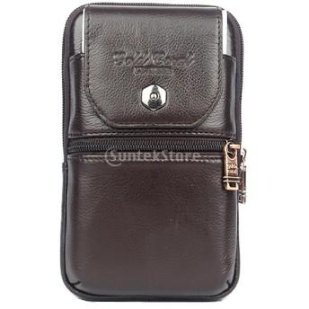 KOZEEY 牛革 磁気ボタン式 携帯電話ポーチ 3格設計 ウエストバッグ L&Sサイズ スマホ用 小物入れ カラビナ付き 耐久性 軽量 - ブラウン, S