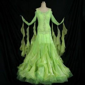 レディース ダンス衣装 ダンス用ドレス ワンピース ロングドレス ロング丈 ウエスト切り替え ラッフルスカート フレアスカート シフォン ビジュー ラ