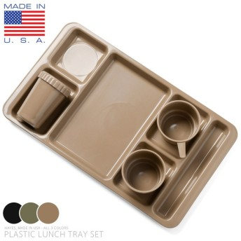 Hayes社製 米軍納入 PLASTIC ランチトレイセット(カップ・ボウル・トレイ) MADE IN USA ミリタリー 食器 アウトドア アメリカ製 グッズ ブランド