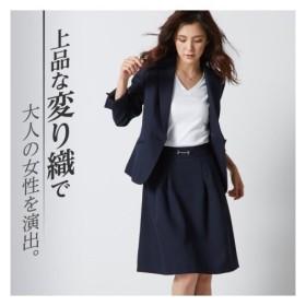 ニッセン 変り織 スカートスーツ テーラードジャケット + タックフレアスカート レディース