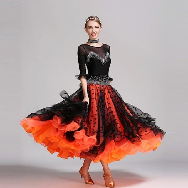 ダンス 衣装 ダンスウェア ドレス ワンピース レディース 女性 社交ダンス 大会 レッスン 練習着 モダンドレス セクシー ドット柄 黒 個性的 S