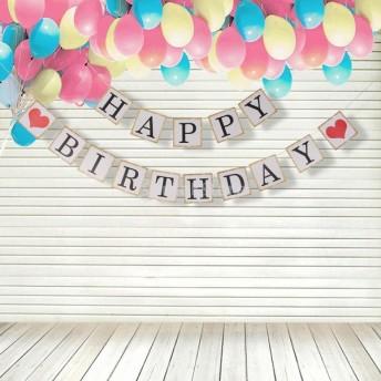 """ノーブランド品 誕生日 パーティー用 バナー 壁飾り """"HAPPY BIRTHDAY"""" お祝い 小道具 レッドハート付"""