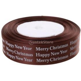 コーヒー 25ヤード メリークリスマス/幸せな新年 リボン クラフト DIY