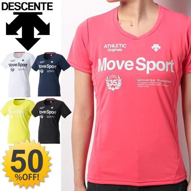 半袖Tシャツ レディース/ デサント DESCENT Move Sport/レサンスクリーン UVカット トレーニング 半袖 スポーツウェア ジム ランニング DAT5724W /DAT-5724W