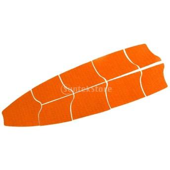 ノーブランド品 全2色 9個セット サーフボード フルデッキ デッキパッド トラクションパッド テール グリップ - オレンジ