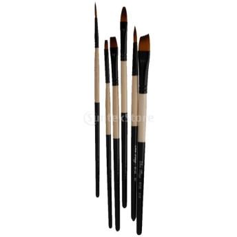 ノーブランド品 6本 ナイロン製 多サイズ ブラシ 水彩 油絵用筆 絵画用 絵筆 画筆 B720