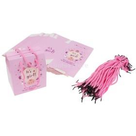 約50個入り ホルダー付き キャンディーボックス ホルダー パーティー ギフト 素敵 ベビーシャワー キャンディーバッグ 2色選べる - ピンク