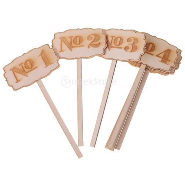 10個/セット 木製 テーブル番号 ウェディング パーティー 装飾 スティック 小物 全2種類 - 1-10
