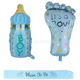 3セット 哺乳瓶型 フットプリント型 ベビーシャワー 出産祝い パーティー用 洗礼式用 男の子 サッシュ バルーン