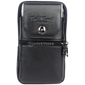 KOZEEY 牛革 磁気ボタン式 携帯電話ポーチ 3格設計 ウエストバッグ L&Sサイズ スマホ用 小物入れ カラビナ付き 耐久性 軽量 - ブラック, S