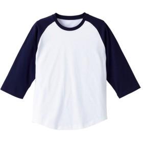 UnitedAthle ユナイテッドアスレ 5.0オンス ラグラン3/4スリーブTシャツ(アダルト) 540401 ホワイト/ネイビー