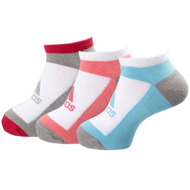 adidas(アディダス) KIDS 3Pショートソックス DDV17 WHT/バヒアPNK