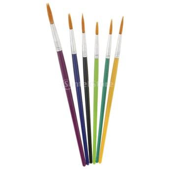 芸術 画材 水彩塗料用 ペイント ブラシ アクリル筆 油絵筆 水彩筆 画筆 描く 6本