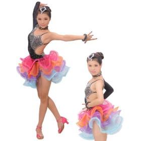 ダンス用 ドレス ワンピース 服 子供 キッズ 子ども 女の子 女児 衣装 社交ダンス レッスン レッスンウェア ダンス ラテン ラテンドレス セクシ
