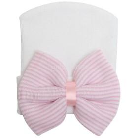 新生児の幼児の女の子の幼児の帽子ピンク&白のためのビーニーハット