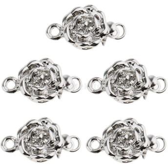 魅力的 花の形 ジュエリー クラスプ 留め金 DIY ブレスレット ネックレス製作 ファッション 銀 5個入り