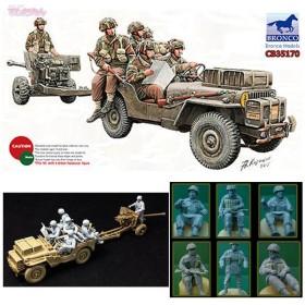 ブロンコ CB35170 1/35 英1/4ton空挺用小型兵員車&6ポンド砲空挺型+降下兵6体 プラモデル(D8586)