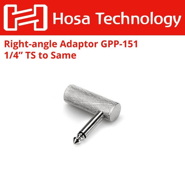 Hosa GPP-151 1//4 inch TS to 1//4 inch TS Right-Angle Adaptor
